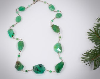 Chunky Chrysoprase Hand Knotted Gemstone Necklace on Silk Cord