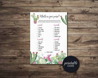 Whats in your Purse Game Printable Fiesta Bridal Shower Purse Game, Succulent Bridal Shower game, cactus Purse game Boho Bridal shower Game