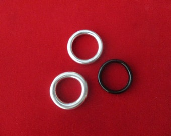 Set of Three Stackable  Rings - Two Sterling Silver -  One Onyx