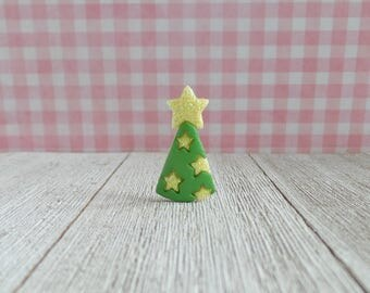 Party Hat - Birthday Gift - Celebration - Green and Yellow Stars - Lapel Pin