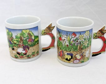 Two Vintage 1990s Novelty Easter Mugs Great Gift Idea