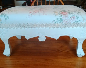 Shabby Cottage Chic Flowered Fabric Covered Foot Stool