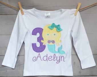 Personalized Mermaid Birthday Applique Shirt or Onesie Girl