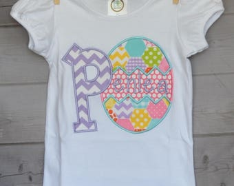 Personalized Easter Egg Initial Applique Shirt or Onesie Girl or Boy