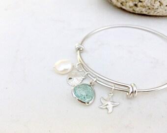 Pearl Bangle Erinite Bangle Aquamarine Sand dollar Starfish Bangle Beach Wedding Bridesmaids Gifts Pearl Jewelry march birthstone pearl