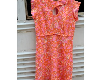 Vintage 1960s Hot Pink + Orange Psychedelic Printed Dress