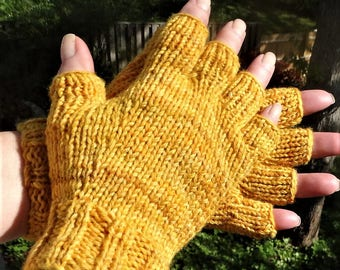 Half Finger Ladies' Gloves Hand Knit Yellow Merino Wool & Nylon Half Finger Gloves Variegated Golden Yellow Half Finger Gloves Hand Warmers