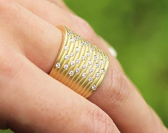Wide Diamond Cigar Band in 14kt Yellow Gold .56ctw Ribbed Matte Finish
