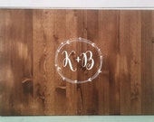 Guest Book Alternative, Rustic Vine or Wreath design. Wood Sign Guest Book Personalized with Monogram. Vintage Wedding Guest Book
