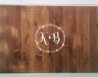 Custom Guest Book, Rustic Vine or Wreath design. Wood Sign Guest Book Personalized with Monogram. Vintage Wedding Guest Book
