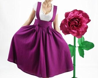 Maxi Skirt, Plus Size Skirt, Circle Skirt, High Waisted Skirt, Long Skirt, Full Linen Skirt with Straps, Skirt with Pockets, Office Skirt