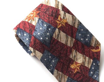 Red White Blue Patriotic Tie,Independence Day,July 4th,Made in USA Necktie,American Eagle Tie,Celestial Sun Moon & Stars,Vintage Cotton Tie