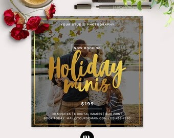 Christmas Mini Session Photoshop Template for Photographer - Photography Marketing Material - INSTANT DOWNLOAD - MS041