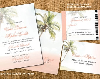 Beach Wedding Invitations in Blush and Golds |  Vintage Chic | Calligraphy Fonts | Boarding Pass Reply | Mexico Jamaica Cabo Punta Cana