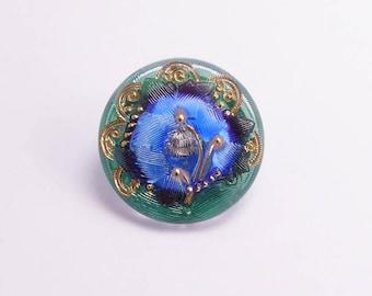 27mm Blue Flower Czech Glass Button, Czech Button, Blue Flower Glass Button, Flower Czech Glass Button, Green Czech Button BUT0082