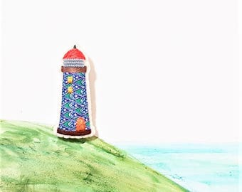 Lighthouse Brooch. Nautical Hand Embroidery. Summer Beach. Seashore. Red Roof Lighthouse. Bead Embroidered.
