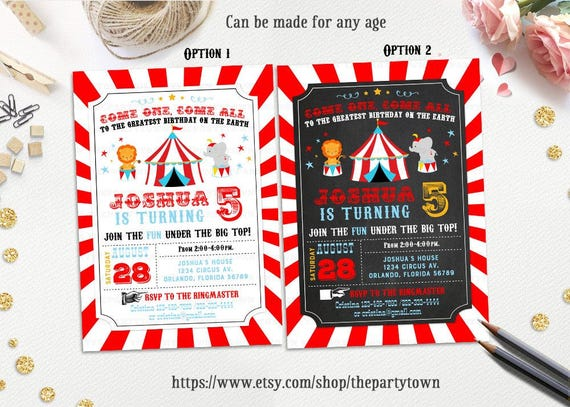 Circus Birthday Party Invitation Carnival Invite Red And Blue Chalkboard Personalized Printable