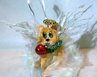 Handpainted Personalized Christmas (with Angel Wings/halo) Cat Ornaments