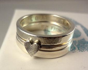 Sterling Silver Stacking Fingerprint Rings Set of 3