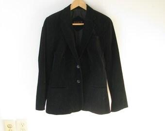 Vintage 60s 70s Black Velvet Blazer / 1960s 1970s Cotton Velvet Jacket Small