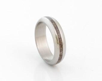 Dinosaur bone ring fossil ring titanium rounded band mens wedding band woman ring
