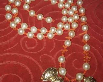 Long Coral and Pearl Necklace