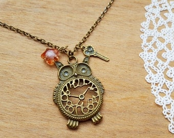 Vintage Style Bronze Tone Necklace with Pendant Owl Clock with Key and Star