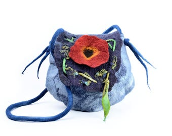Blue felted bag with red poppy flower - felt designer bag with flap, zipper, pocket & lining - art shoulder bag, handmade, merino wool [T20]
