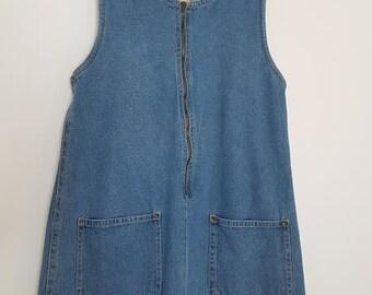 90s Vintage Denim Jumper Dress Size Medium