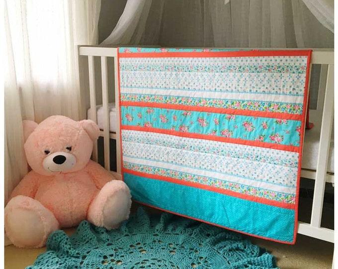 Blue White & Pink Floral Strip Patchwork Cot Quilt Nursery Decor