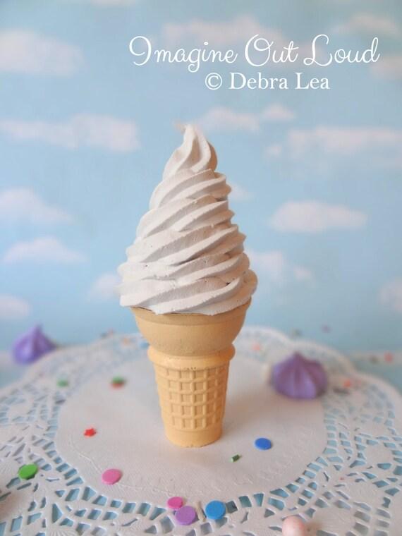 Fake Ice Cream Faux Cone Realistic Vanilla Swirl on Vanilla Cone