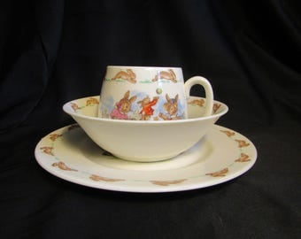Royal Doulton Bunnykins Trio Child's Dishes Set of Three Plate Bowl and Mug Vintage See Saw, TV Time, Dress Making Albion Shape