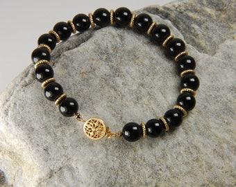 Black Onyx Bracelet Black and Gold Bracelet Handmade Black Beaded Bracelet Black Onyx Jewelry