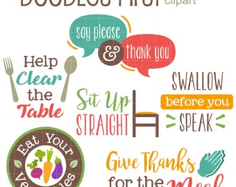 Table Etiquettes Digital Clip Art for Scrapbooking Card Making Cupcake Toppers Paper Crafts