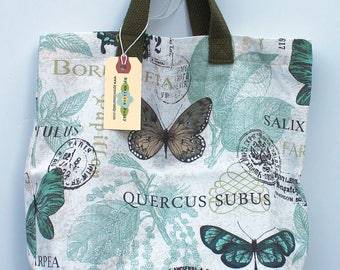 Small Canvas Bag: Blue Spa Butterflies, washable