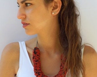 Red and gray fabric strips necklace. Bib necklace. Fabric jewelry. Handmade necklace. Red necklace. Gift for her.