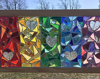 Stained Glass Rainbow Mosaic Panel - Stained Glass Hearts - Rainbow Hearts Mosaic Panel - Rainbow Heart Stained Glass Panel - Heart Decor