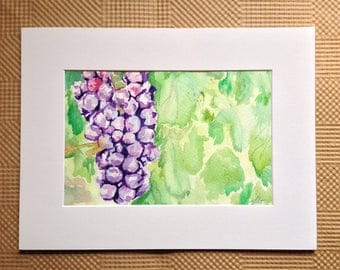 Grape Watercolor Painting - Grapevine Painting - Original Watercolor Grapevine - Purple Grapes on Vine Artwork