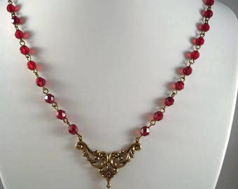 Red Rhinestone Heart Necklace Victorian Inspired