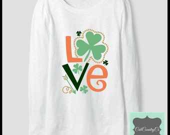 Love With Clover, Girls St. Patrick's Day Shirt