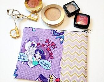 SALE! Aladdin Medium Zipper Pouch / Princess Jasmine / Purple