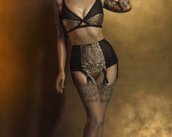 Gold Sequin Knickers with black mesh, Vintage Style