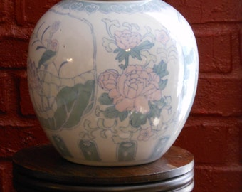 Chinese Ginger Jar--Light Green & White w/ Floral and Birds Pattern
