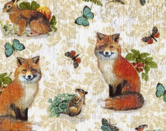 Red Fox Fabric  100% Cotton Quilting Apparel Crafts Home decor