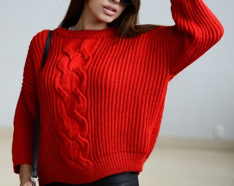 Gift for mom oversized Knitting pullover sweater Gift for womens sweater Chunky knit sweater Knitted oversize sweater Girlfriend gift