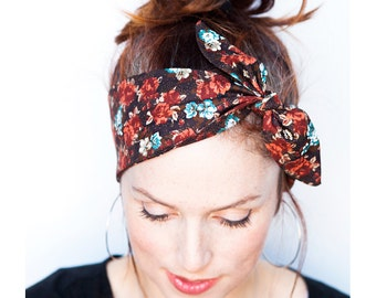Black Headband with Flower Prints - Flower Headband Flowers Dolly Bow Headband Rockabilly Pinup Bandana Retro Women's Hair Accessories