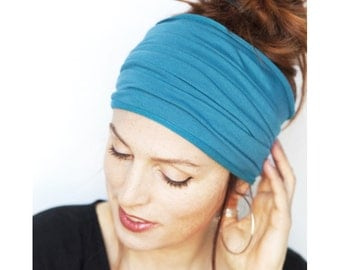 Namaste Teal Headband - Wide Headband Yoga Headband Boho Headband Running Headband Womens Headband Hair Accessories Teal Headwrap