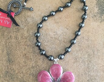 Dark Pink Flower Pendant Necklace with Hematite Beads.
