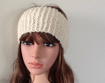 Knit headband - knit ear warmer - knitted head wrap  - keep the wind out of your ears while outside - cream - natural texture