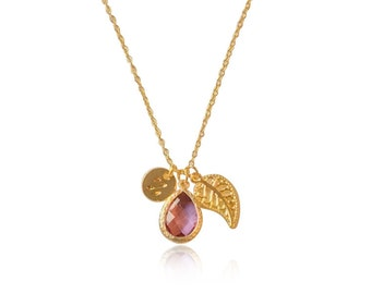 Amethyst Gold Necklace for Women, Romantic Valentines Gifts for Her, February Birthstone Necklace, Necklace for Girlfriend, Initial Necklace